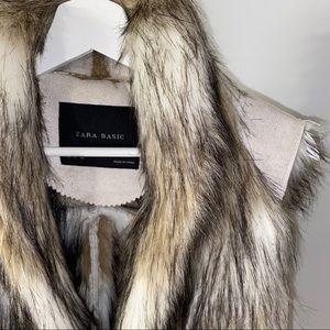 ZARA BASIC Faux Fur Vest